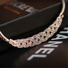 RONGQING Vintage Noble Wheat Shaped Necklace Fashion Crystal Choker Chunky Necklace for Women in Gold and Silver