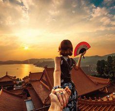 Taiwan Sun Moon Lake (the photo series by Russian Photographer, Murad Osmann) Murad Osmann, Waiting Here For You, Sun Moon Lake, Travel Captions, Voyager Loin, Taiwan Travel, Fairytale Fashion, Best Travel Quotes, Set Me Free