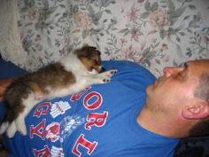 Finnegan and I sleeping together in 2008 (Day 2 of his arrival in our home)