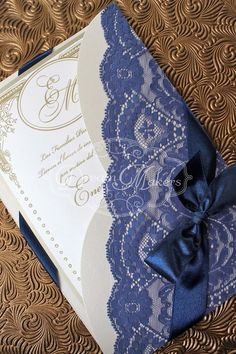 Love the blue lace invitation, This would be perfect for Blue and White wedding theme!!
