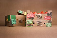 Taste by Nature - BooM creatives Kraft Box Packaging, Fruit Packaging, Packaging Design, Branding Design, Packaging Ideas, Organic Packaging, Product Packaging, Vegetable Delivery, Vegetable Packaging