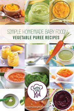 Simple Homemade Baby Food - Vegetable Puree Recipes Feeding My Kid Baby Food Vegetables, Vegetables For Babies, Baby Puree Recipes, Pureed Food Recipes, Baby Food Puree, Toddler Meals, Kids Meals, Toddler Food, Baby Solid Food