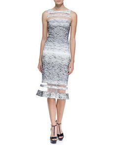 Sleeveless Illusion Ring Dress, Navy/White by Badgley Mischka Collection at Neiman Marcus.