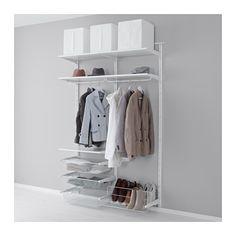 IKEA - ALGOT, Wandrail/stang/schoenenopberger, De onderdelen van de ALGOT serie kunnen op diverse manieren worden gecombineerd en zijn daardoor eenvoudig aan te passen aan de behoefte en de ruimte.Als je opbergbehoefte verandert, kan je de ALGOT opbergoplossing snel aanpassen, omdat de planken, stangen en bakken eenvoudig te verwijderen en weer vast te klikken zijn.Je kan je inloopkast of garderobekast inrichten met de ALGOT serie. Met planken bovenin en schoenenopbergers onderop kan de…