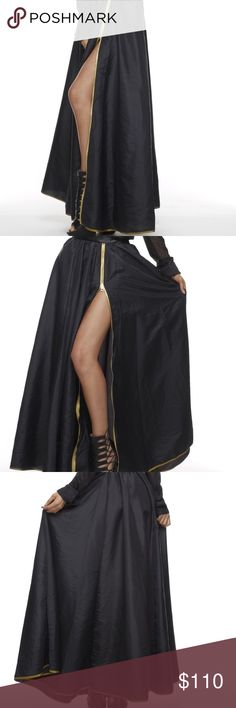🎁Host Pick🎁 11/28🎉Black Widow Maxi Skirt TOV Holy black maxi skirt with gold trim and functional zipper/split and pockets. Half elastic waistband, 95% Polyester, 5% PU, NWT TOV Holy Skirts Maxi