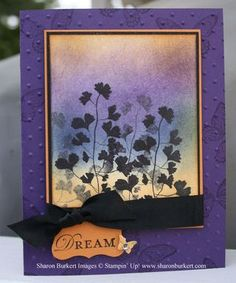 beautiful handmade card ... sponged colors ... silhouette and shadow stamping ... purple and orange ...