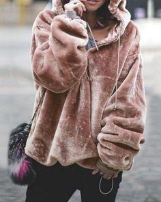 57cd99e05b4 Comfortable Long Sleeve Fuzzy Warm Hoodies Outwear