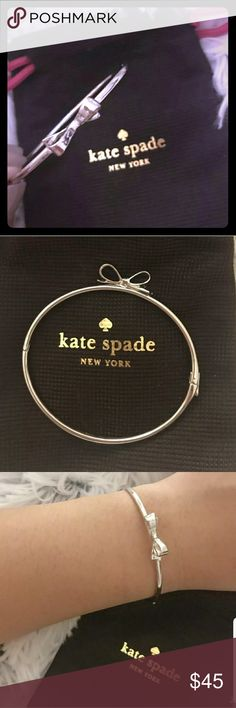♠Kate♠ Silver 925 Bracelet with Gift Bag Kate Spade bracelet with adorable bow! Brand new never been worn but to take pictures! Kate Spade Jewelry