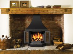 Dovre 2300 fireplace with optional canopy, plinth and side panels