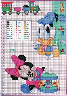 Baby Donald Duck and Minnie are playing with toys - free cross stitch patterns crochet knitting amigurumi Disney Cross Stitch Patterns, Cross Stitch For Kids, Cross Stitch Boards, Cross Stitch Baby, Cross Stitch Designs, Disney Stitch, Mickey Mouse And Friends, Minnie Mouse, Cross Stitching