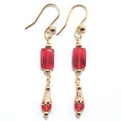 Carnelian & Gold Gemstone Dangle Earrings by SleeplessArt on Etsy