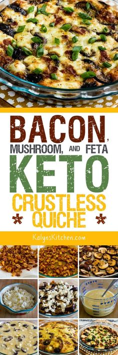 Bacon, Mushroom, and Feta Keto Crustless Quiche is an amazing idea for a Christmas morning breakfast, or enjoy this tasty crustless quiche any time of year when you want a breakfast that's low-carb, K Low Carb Keto, Low Carb Recipes, Cooking Recipes, Healthy Recipes, Detox Breakfast, Morning Breakfast, Breakfast Quiche, Free Breakfast, Breakfast Ideas