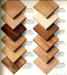 Wood Types & Samples for Client Reference