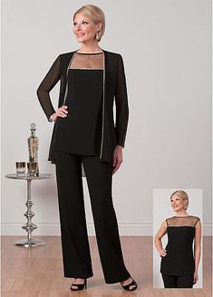 Magbridal Elegant Pant Suits Tulle & Chiffon Bateau Neckline Mother Of The Bride Dresses With Beadings Unique Dresses, Modest Dresses, Bride Dresses, Party Dresses, Mother Of The Bride Trouser Suits, Wedding Pantsuit, Gown Wedding, Elegant Outfit, The Dress
