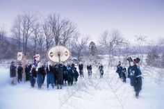 Amid deep snow, on the second day of the year, people from four northern Japanese villages gather to perform ritual dances known as Dainichidō Bugaku. These photos convey the atmosphere surrounding a tradition that dates back years.