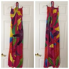 "Beautiful Strapless Long Beach dress Strapless with neck tie long beach dress. 100% Cotton. Measurements :  Size S.     13"" Chest. 46"" Length.  Gently worn and excellent condition . Dresses Strapless"
