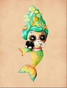 Day of the Dead cat mermaid.