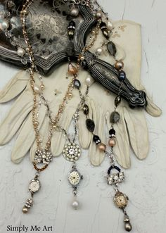 Vintage Watch Necklaces with Bling and Pearls
