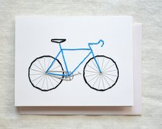 Bike Card  Embroidered Bicycle Card Blue by KotoDesigns on Etsy