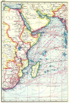 indian ocean west. winds& ocean currents