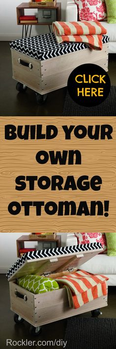 Build your own storage ottoman! Free woodworking plans.