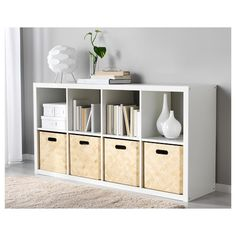Two of these along you wall would store everything. Dishes, candles and plants on top. Books, shoes pots on bottom - IKEA Shelving units- KALLAX Ikea Box Shelves, Ikea Shelving Unit, Kallax Shelf Unit, Shelf Units, Interior Design Living Room, Living Room Decor, Bedroom Decor, Ikea Book, Ikea Regal