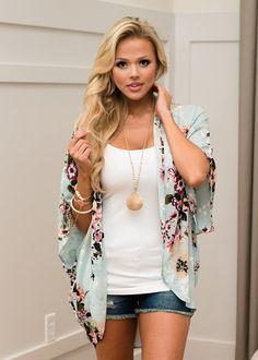 Mint Floral Kimono, Kimono, Floral Kimono, Online Shopping, Online Boutique, Shopmvb, Modern Vintage Boutique, Boutique, Fashion, Fashion Blogger, Style, Cute