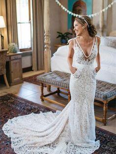 2728cb3974f8 Deep V-Neck Mermaid Pockets Lace Wedding Dress