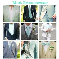 Mint Green Groomswear/Groom's Attire. (mint green wedding, mint, groomsmen, attire, tuxedo, suit, classy, vintage, traditional, tie, bowtie, lining, fashion, outfit, ideas) More mintspirations on my blog!