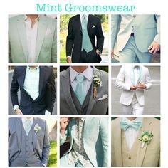 Mint Green Groomswear/Groom's Attire. (mint green wedding, mint, groomsmen, attire, tuxedo, suit, classy, vintage, traditional, tie, bowtie, lining, fashion, outfit, ideas) More mintspirations on my blog!