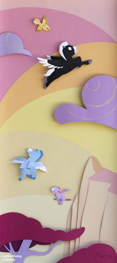 """""""Baby Pegasuses"""" from Fantasia. A paper sculpture by Jackie Huang for Disney WonderGround Gallery"""