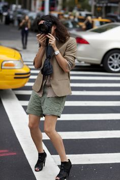 "Wednesday, September 15, 2010  On the Street….The Boys Department, New York  ""Garance just shops in my closet (and by ""in my closet"" I mean the green shorts, not the heels!)"" - The Sartorialist"