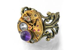 Steampunk Ring African Amethyst & Gold Bulova by ClosetGothic, $75.00