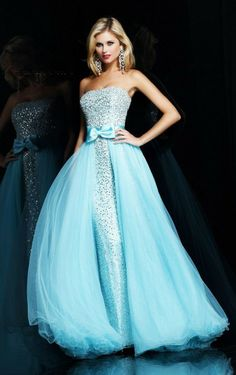 Buy UK Light Sky Blue Princess Floor-length Strapless Dress , Ladies dresses and flower girls dresses, Discount Dresses for sale - 4p247 - s...