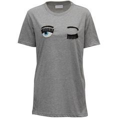 Chiara Ferragni Flirting Eyes Beads Long T-shirt ($230) ❤ liked on Polyvore featuring tops, t-shirts, grey, cotton t shirts, grey top, long grey t shirt, beaded tops and grey tee