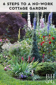 6 Steps to a No-Work Cottage Garden - Cottage garden designs bring a classic, so. - 6 Steps to a No-Work Cottage Garden – Cottage garden designs bring a classic, soft vibe to your l - Back Gardens, Outdoor Gardens, Front Yard Gardens, Amazing Gardens, Beautiful Gardens, Unique Garden, Garden Modern, Design Jardin, Beautiful Flowers Garden