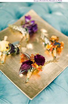 boutonnieres via StyleUnveiled.com / Cori Cook Floral Design / Brumley & Wells / Glamour Wedding Ideas