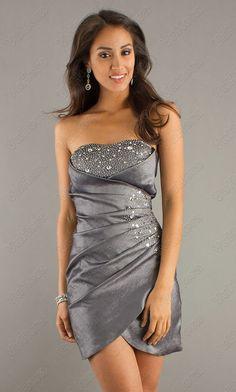 Sequin Ruched Short Strapless Prom Dress - Vuhera.com