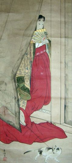 Beauty of the Imperial Court and Cat - Yamaguchi Soken (1759-1818). Heian era costume. Hakama-mo