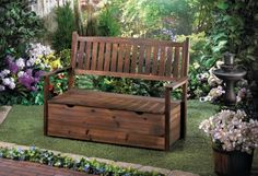 """by Summerfield Terrace Add more seating and more storage to your favorite outdoor space with this classically beautiful wooden bench. Lift the seat for ample storage of garden or outdoor essentials, and have a seat to relax upon when your yard work is done.  Storage box: 18 3/4"""" high. 48.2"""" x 21.5"""" x 34.8"""" allgooddecor.com  #allgooddecor #furniture #decor #candles #mirrors #figurines #fountains #lighting #outdoor #accents #decorations #gifts #toys"""