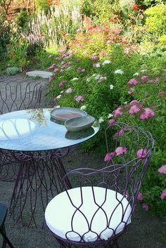 like purple chairs table