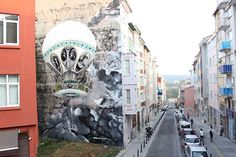 Street artist Ethos has been taking to the streets of Istanbul, decorating in his distinct, pretty, surreal style.