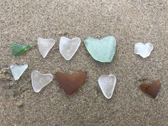 Set of 10 Heart Natural Shaped Sea glass from Greek Island, Heart Shaped Sea Glass, Natural Heart seaglass for Art and Wedding Table Decor Aquarium Decorations, Table Decorations, Hag Stones, Beach Stones, Beach Crafts, Small Heart, Natural Shapes, Island Beach, Sea Glass