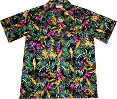 """Hawaiihemd / Hawaii Hemd """"Jungle Parrots"""" / von Hawaiihemdshop.de / 100% Baumwolle / Knöpfe aus Kokosnuss / inkl. Brusttasche"""