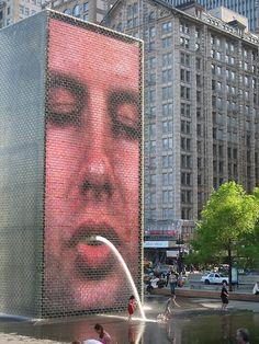 Jaume Plensa Crown Fountain Public Art Video Installation. Chicago.