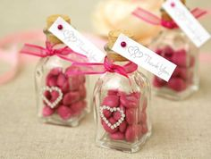 Give guests a colorful treat for attending your event. Fill our mini glass jars with your favorite candy, embellish with rhinestones and finish with a thank-you tag and coordinating ribbon