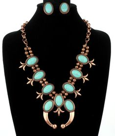 NEW Copper Squash Blossom Turquoise Howlite Stone Statement Necklace Set  #Unbranded #Statement