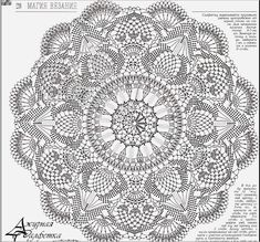 crochet mandala pattern a crochet pattern charm with free graphics - CROCHET Col Crochet, Crochet Blanket Edging, Crochet Doily Diagram, Crochet Carpet, Crochet Mandala Pattern, Crochet Circles, Crochet Doily Patterns, Crochet Home, Irish Crochet