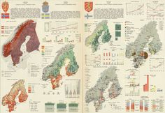 "mapsdesign: ""Norway, Sweden, Finland. Pergamon World Atlas by Polish Army Topography Service (1967) """