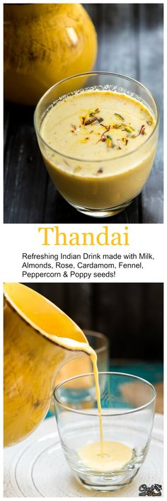 Thandai is a refreshing Indian drink made with milk, peppercorn, almonds, fennel seeds, poppy seeds, cardamom and rose! It's especially served during the festival of Holi.